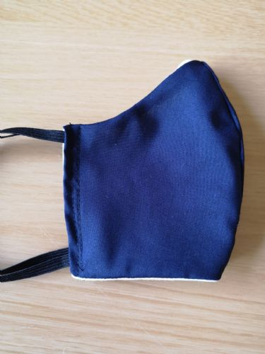 Handmade Breathable Eco Friendly Cotton Face Mask Plain Navy Blue Adjustable Ribbon Ties Or Elastic